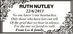RUTH NUTLEY 22/6/2013 No one know's our heartaches, Only those who have lost can tell, Of the gr...