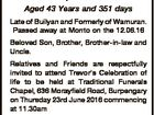 McCLURE; Trevor Charles Aged 43 Years and 351 days Late of Builyan and Formerly of Wamuran. Passed away at Monto on the 12.06.16 Beloved Son, Brother, Brother-in-law and Uncle. Relatives and Friends are respectfully invited to attend Trevor's Celebration of life to be held at Traditional Funerals ...