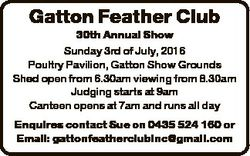 Gatton Feather Club 30th Annual Show 