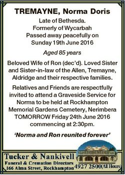 TREMAYNE, Norma Doris Late of Bethesda. Formerly of Wycarbah Passed away peacefully on Sunday 19th J...