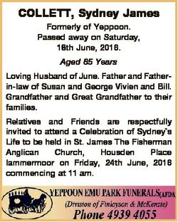 COLLETT, Sydney James Formerly of Yeppoon. Passed away on Saturday, 18th June, 2016. Aged 85 Years L...