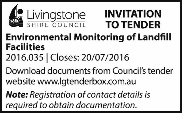 INVITATION TO TENDER   Environmental Monitoring of Landfill Facilities   2016.035   Close...