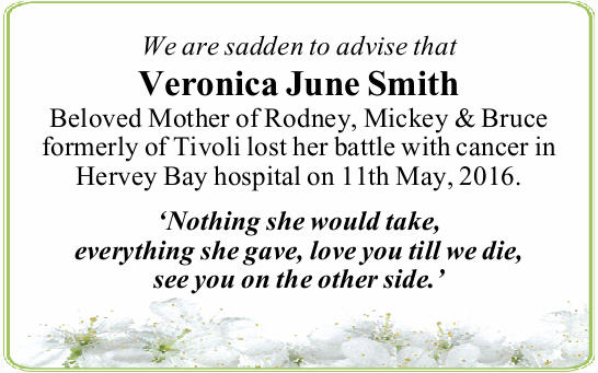 We are sadden to advise that 
