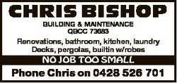 CHRIS BISHOP BUILDING & MAINTENANCE QBCC 73683 Renovations, bathroom, kitchen, laundry laundry D...