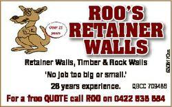 6308170aa ROO'S RETAINER WALLS Retainer Walls, l Ti Timber b & Rock R k Walls W ll `No job t...