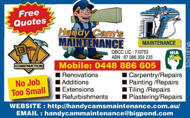 HANDY CAM'S MAINTENANCE \   Free quotes   CARPENTRY/ REPAIRS PAINTING/REPAIRS T...