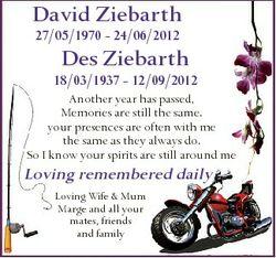 David Ziebarth 27/05/1970 - 24/06/2012 Des Ziebarth 18/03/1937 - 12/09/2012 Another year has passed,...