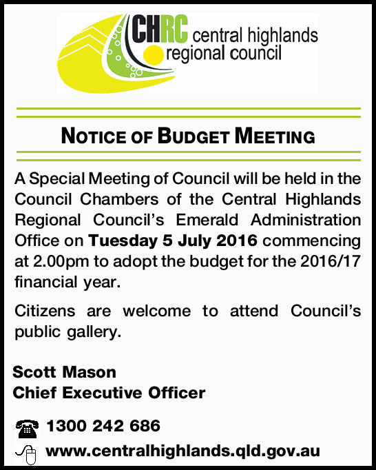 Notice of Budget Meeting 