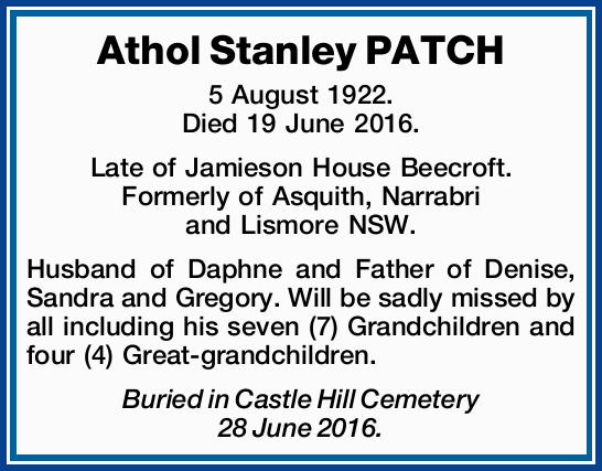 5 August 1922. Died 19 June 2016.