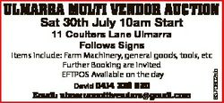 ULMARRA MULTI VENDOR AUCTION Sat 30th July 10am Start 11 Coulters Lane Ulmarra Follows Signs David 0...