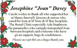 """Josephine """"Joan"""" Davey Carole wishes to thank all who supported her at Mums farewell. Doct..."""