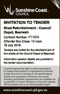 INVITATION TO TENDER Shed Refurbishment - Council Depot, Beerwah Contract Number: ITT1574 QTender Bo...