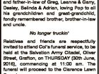 FIRTH, Colin Frederick (Col) of Grafton, passed away peacefully on 22nd June, 2016, aged 80 years. Dearly loved husband of Lorraine. Loving father and father-in-law of Greg, Leanne & Garry, Desley, Belinda & Adrian, loving Pop to all his grandchildren and great-grandchild, fondly remembered brother, brother-in-law and uncle. No longer truckin' Relatives ...