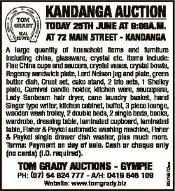 KANDANGA AUCTION TODAY 25Th JUNE AT 9:00A.M. AT 72 MAIN STREET - KANDANGA TOM GRADY AUCTIONS - GYMPI...