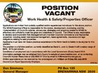 POSITION VACANT Work Health & Safety/Properties Officer Applications are invited from suitably qualified and/or experienced individuals for the above position. The WHS/Properties Officer is responsible for the review, development, monitoring, and the implementation of Council's policies, procedures, strategies and programs related to WH&S to effectively and ...