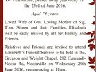 ESPRESTER, Elisabeth Of Verrierdale, passed away peacefully on the 23rd of June 2016. Aged 78 years. Loved Wife of Gus. Loving Mother of Sig, Tom, Simon and their Families. Elisabeth will be sadly missed by all her Family and Friends. Relatives and Friends are invited to attend Elisabeth's Funeral ...