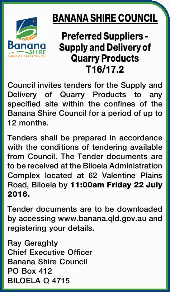 Preferred Suppliers - Supply and Delivery of Quarry Products T16/17.2    Council invite...