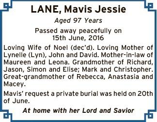 Aged 97 Years   Passed away peacefully on 15th June, 2016.   Loving Wife of Noel (dec&#39...