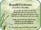 Ronald Cochrane 21.3.1923  29.6.2006 Every day, in some small way, Memories of you come our way. Though absent, you are always near, Still loved, still missed, still very dear. Sadly missed by his wife Irene, children, grand children and great grand children. We love and miss ...
