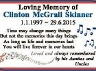 Loving Memory of Clinton McGrail Skinner 1.1.1997  29.6.2015 Time may change many things But not the memories this day brings As long as life and memories last You will live forever in our hearts Loved and always remembered by his Aunties and Uncles