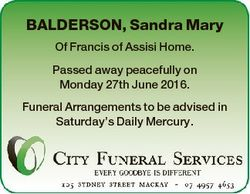 BALDERSON, Sandra Mary Of Francis of Assisi Home. Passed away peacefully on Monday 27th June 2016. F...