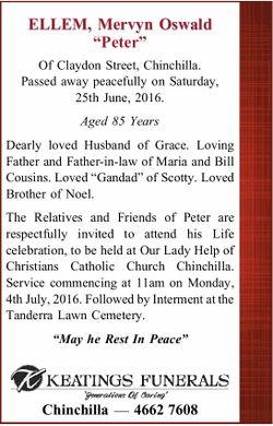 "ELLEM, Mervyn Oswald ""Peter""    Of Claydon Street, Chinchilla. Passed away peacef..."