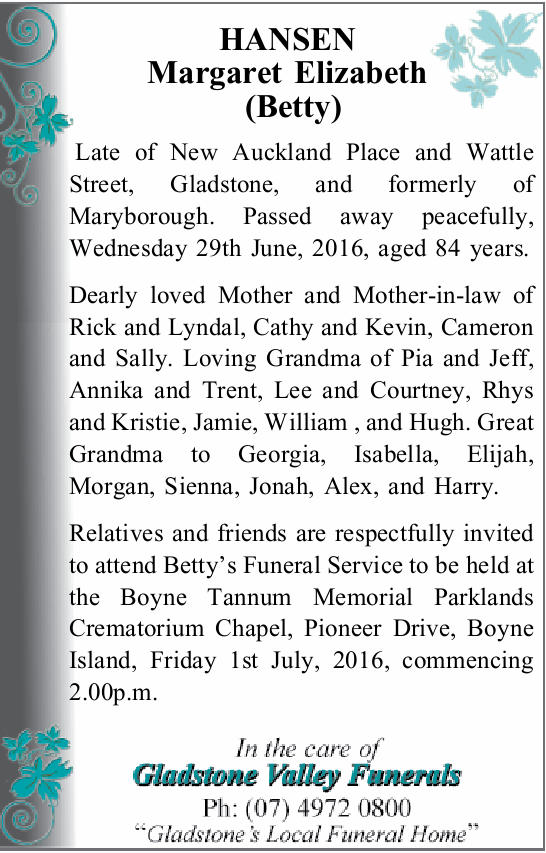 HANSEN Margaret Elizabeth (Betty) 