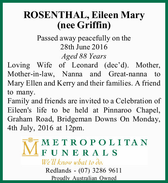 ROSENTHAL, Eileen Mary (nee Griffin)