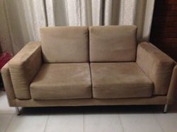 1 X 3 & 1 X 2 seater Sofas & 1 large Ottoman suede, latte colour.