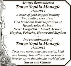 Always Remembered Tanya Sophia Monagle 28/6/2015 A heart of gold stopped beating Two smiling eyes at...