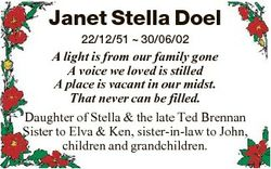 Janet Stella Doel 22/12/51  30/06/02 A light is from our family gone A voice we loved is stilled A p...