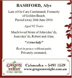 BASHFORD, Alys Late of Oz Care Currimundi. Formerly of Golden Beach. Passed away 26th June 2016 Aged...