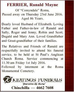"FERRIER, Ranald Mayne Of ""Comyndale"" Roma, Passed away on Thursday 23rd June 2016. Aged 86..."