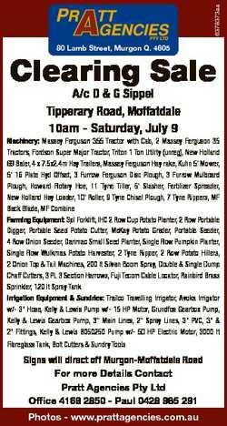 6378373aa 80 Lamb Street, Murgon Q. 4605 Clearing Sale A/c D & G Sippel Tipperary Road, Moffatda...