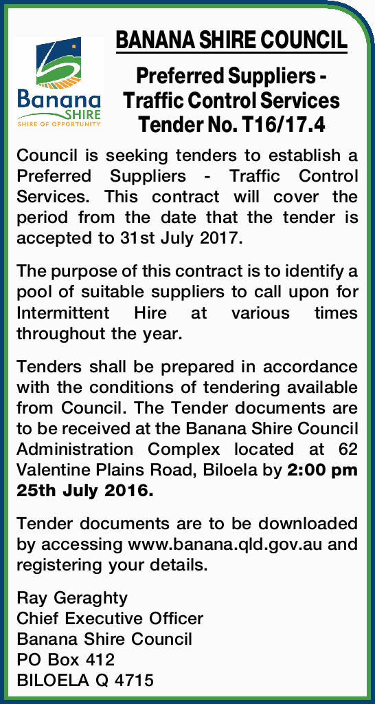 Preferred Suppliers - Traffic Control Services Tender No. T16/17.4