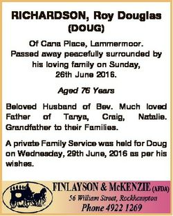 RICHARDSON, Roy Douglas (DOUG) Of Cana Place, Lammermoor. Passed away peacefully surrounded by his l...