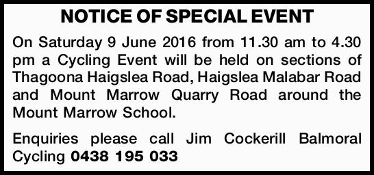 NOTICE OF SPECIAL EVENT 