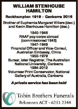WILLIAM STENHOUSE HAMILTON Rockhampton 1919 - Canberra 2016 Brother of Euphemia Margaret Villiers (d...