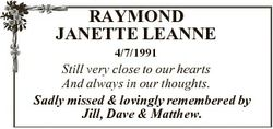 RAYMOND JANETTE LEANNE 4/7/1991 Still very close to our hearts And always in our thoughts. Sadly mis...
