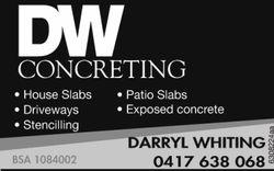DW Concreting   House Slabs   Patio Sales   Driveways   Exposed Concrete   St...