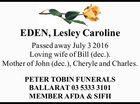 EDEN, Lesley Caroline