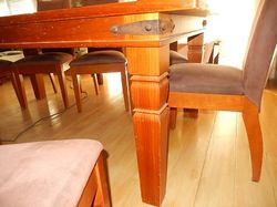 e/care suede,h'back chairs,clean,gc,solid oz quality items,tbl has lge decorative iron brackets on e...