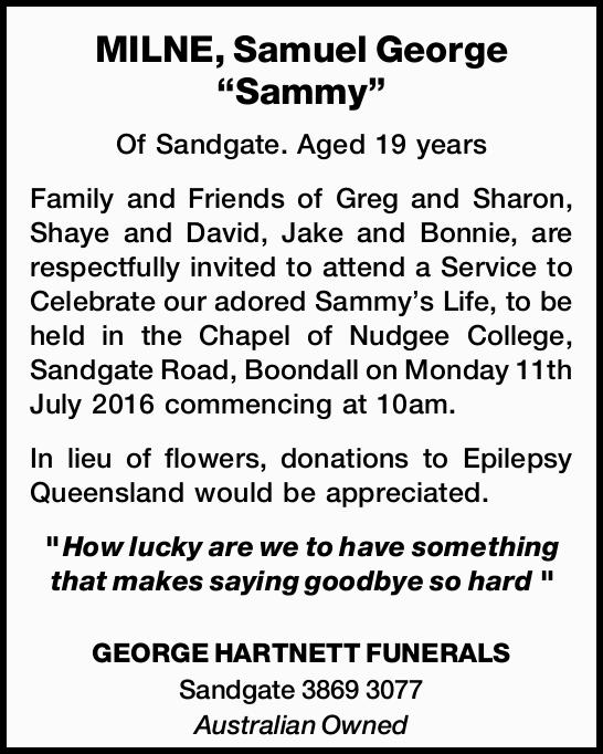 "MILNE, Samuel George ""Sammy""