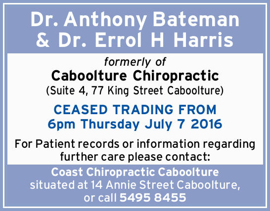 formerly of Caboolture Chiropractic (Suite 4, 77 King Street Caboolture)