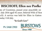 BISCHOFF, Ellen nee Profke
