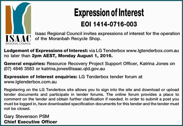 Expression of Interest   EOI 1414-0716-003   Isaac Regional Council invites expressions o...