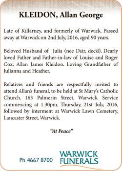 Late of Killarney, and formerly of Warwick. Passed away at Warwick on 2nd July, 2016, aged 90 yea...