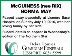 McGUINESS nee RIX, NORMA MAY