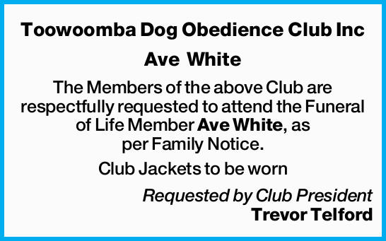 Ave White The Members of the above Club are respectfully requested to attend the Funeral of...