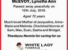 McEVOY, Lynette Ann
